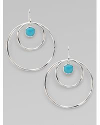 Ippolita | Metallic Turquoise Cabochon Sterling Silver Hoop Earrings | Lyst