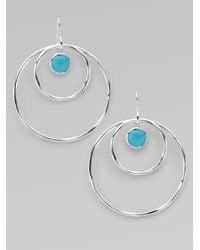 Ippolita | Metallic Turquoise Cabochon Sterling Silver Hoop Earrings | Lyst