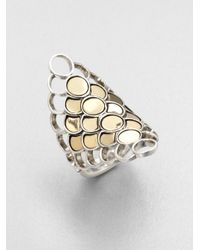 John Hardy | Metallic Sterling Silver 18k Gold Dot Ring | Lyst