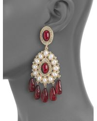 Kenneth Jay Lane | White Teardrop Chandelier Earrings | Lyst