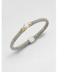 Lagos - Gray Freshwater Pearl Sterling Silver and 18k Yellow Gold Bracelet - Lyst