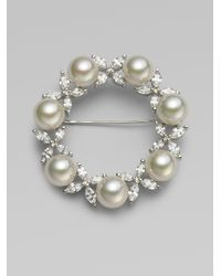 Majorica | Gray 10mm White Pearl Circle Brooch | Lyst