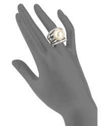 Majorica - Metallic 16mm White Round Pearl Crystal Sterling Silver Multiband Ring - Lyst