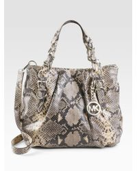 MICHAEL Michael Kors | Natural Embossed Python Leather Tote Bag | Lyst