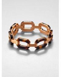 Michael Kors - Brown Tortoiseprint Overlay Link Bracelet - Lyst