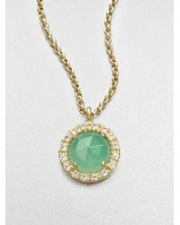 Mija | Light Green Jade and White Sapphire Necklace | Lyst