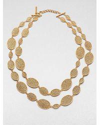 Oscar de la Renta | Metallic Oval Link Double Row Necklace | Lyst