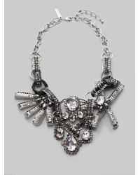 Oscar de la Renta | Metallic Crystal and Bead Bib Necklace | Lyst