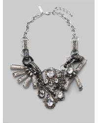 Oscar de la Renta - Metallic Crystal and Bead Bib Necklace - Lyst