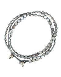Serefina | Metallic Triple Wrap Disk Bracelet Silver | Lyst