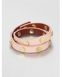 Tory Burch | Pink Double Wrap Logo Studded Leather Bracelet | Lyst