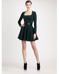 Alexander McQueen - Green Stretch Wool Jersey Godet Dress - Lyst
