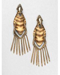 Alexis Bittar - Metallic Tiger Striped Lucite Fringe Clipon Drop Earrings - Lyst