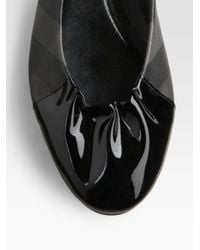 Burberry - Black Coated Canvas & Patent Leather Ballet Flats - Lyst