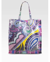 Etro - Blue Coated Canvas Paisley Tote - Lyst