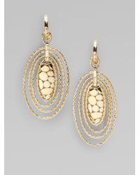 John Hardy - Metallic 18k Gold Oval Hoop Drop Earrings - Lyst