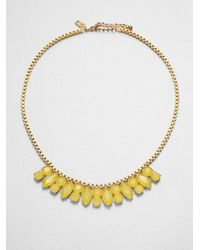 kate spade new york - Metallic Jeweled Chain Necklace - Lyst