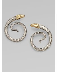 Konstantino | Metallic Sterling Silver 18k Yellow Gold Snake Earrings | Lyst