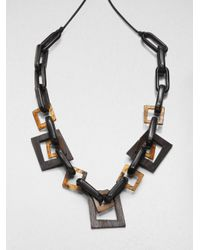 Lafayette 148 New York - Brown Wood Resin Leather Link Necklace - Lyst
