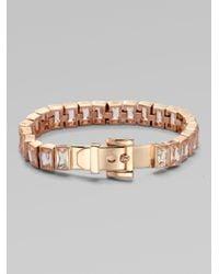 Michael Kors - Metallic Baguette Stone Tennis Bracelet-rose Gold-tone - Lyst