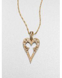 Mizuki - Metallic 14k Gold Diamond Heart Pendant Necklace - Lyst