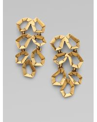 Oscar de la Renta - Metallic Polygon Link Earrings - Lyst