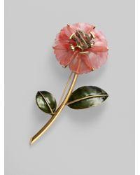 Oscar de la Renta - Pink Flower Brooch - Lyst