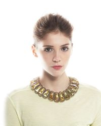 Panacea | Yellow Rectangular Topaz Crystal Collar Necklace | Lyst