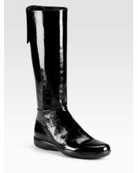 Prada | Black Tall Flat Sport Boots | Lyst