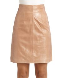 Robert Rodriguez - Brown Zip Leather Skirt - Lyst