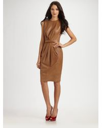 Robert Rodriguez Brown Leather Belted Dress