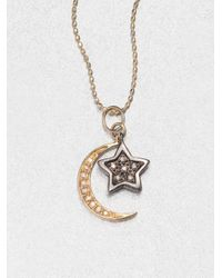 Sydney Evan | Metallic Diamond 14k Gold Star Moon Pendant Necklace | Lyst