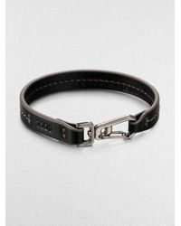 Tod's | Black Marina Topstitched Leather Bracelet for Men | Lyst