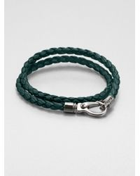 Tod's | Green Leather Double-Wrap Bracelet | Lyst