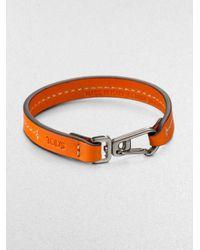 Tod's - Orange Marina Topstitched Leather Bracelet for Men - Lyst