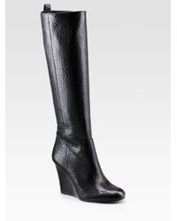 Tory Burch | Black Dabney Wedge Tall Boots | Lyst