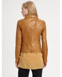 Vince - Brown Scuba Leather Jacket - Lyst