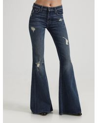 7 for all mankind Organic Stretch Bell Bottom Jeans in Blue | Lyst