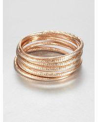 ABS By Allen Schwartz - Metallic Textured Bangle Bracelet Set - Lyst