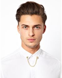 ASOS | Metallic Bull Dog Collar Pins with Chain for Men | Lyst
