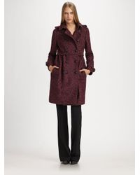 Burberry | Red Double Breasted Tweed Coat | Lyst