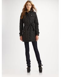 Burberry Brit - Black Quilted Trench Jacket - Lyst