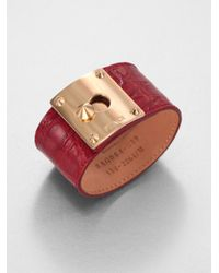 Fendi - Red Crocodile Embossed Leather Cuff Bracelet - Lyst