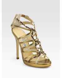 Jimmy Choo   Gold 'Kaya' Sandals   Lyst