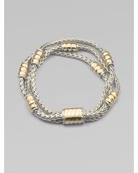 John Hardy - Metallic 18k Gold Accented Sterling Silver Multirow Station Bracelet - Lyst