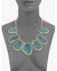 Kara Ross | Blue Textured Stone Bib Necklace | Lyst