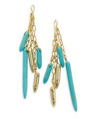 Kara Ross - Green Turquoise Stick Dangle Earrings - Lyst