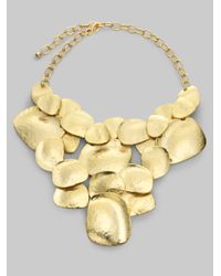 Kenneth Jay Lane | Metallic Hammered Disc Bib Necklace | Lyst