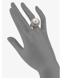 Majorica - Metallic 14mm White Round Pearl Halo Ring - Lyst