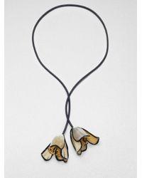 Marni - Black Horn Floral Lariat Necklace - Lyst